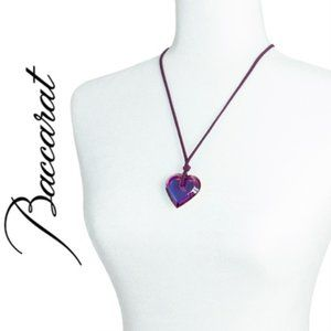 Baccarat Heart Pendant Vintage Necklace, Retired